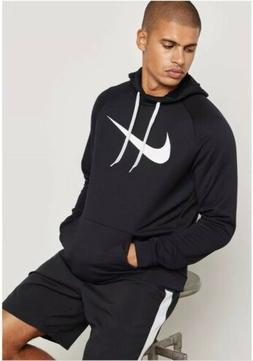 Nike Mens Dri-Fit Training Hoodie Size Large Black/White MSR