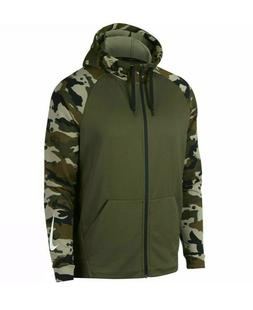 Mens Nike Dry Camouflage Hoodie Green Camo Zip Up Dri Fit Ne