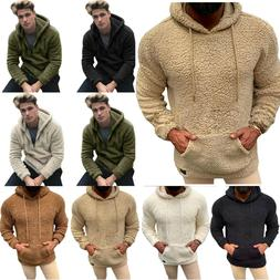 Men Fluffy Fleece Hoodie Winter Warm Hoody Slim Jackets Long