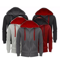 Mens Hoodie Sweatshirt Full Zip Hoodie Hooded Top Pocket Pla