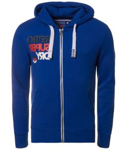 Mens Superdry Retro Zip Hoodie Mazarine Blue