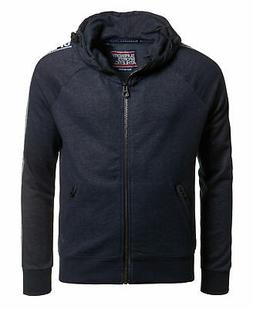 Mens Superdry Stadium Zip Hoodie Navy Grit
