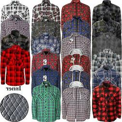 MENS THICK LUMBERJACK PADDED SHIRT QUILTED FLANNEL WORK ZIP