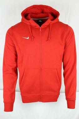 New Nike Men's Sportswear Club Full Zip Red Hoodie Sweatshir
