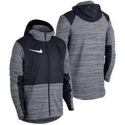 New Nike Men's Therma Winterized Full Zip Hoodie Black Grey