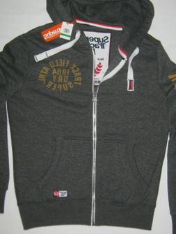 New Superdry Mens Trackster Zip Hood Black Grit 1984 Hoodie