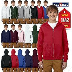 NEW Jerzees Youth 8 oz 50/50 NuBlend Fleece Full Zip Hoodie