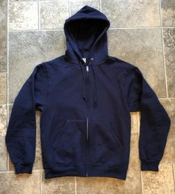 Jerzees NuBlend Navy Full Zip-Up Fleece Hoodie Sweatshirt Sz