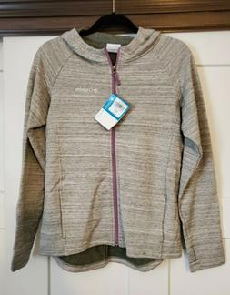 NWT Columbia Athena Full Zip Hoodie Jacket Heathered Gray/Wh