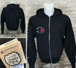 NWT Champion Life Reverse Weave Zip-Up Black Hoodie Sweatshi