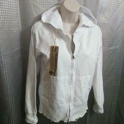NWT Zip-up Cotton Hoodie ,Hand Distressed & Washed ,White