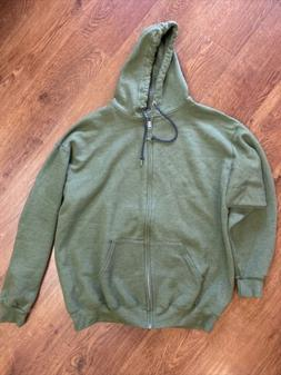 Fruit of the Loom Olive Green Full Zip Hoodie XL Extra Large