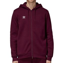 Adidas Originals Fleece Trefoil Men's Full Zip Hoodie Maroon
