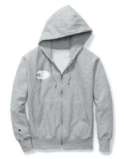 Champion Oxford Grey Reverse Weave Mesh And Leather Zip Hood