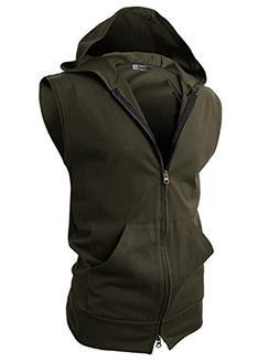 H2H Mens Sleeveless Fashion Hoodies Zip-up with Pocket,JNSK2