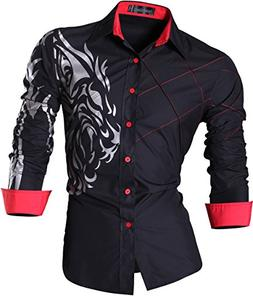 jeansian Men's Slim Fit Long Sleeves Casual Shirts Z030 Blac