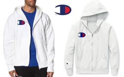 Champion Soft Reverse Weave Full Zip White Mens Hoodie Sz M