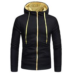 Sunhusing Men Solid Color Long Sleeve Hipster Hooded Pullove