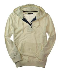 Club Room Mens Solid Quarter Zip Hoodie Sweatshirt Parchment