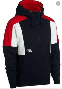 NIKE SPORTSWEAR HALF-ZIP PULLOVER HOODIE MEN BLACK RED AQ206