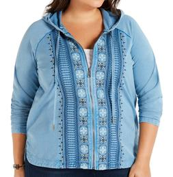 Style & Co. Women's Hoodie Blue Size 2X Plus Embroidered Ful