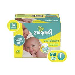 Pampers Swaddlers Disposable Baby Diapers Size 1, 198 Count,