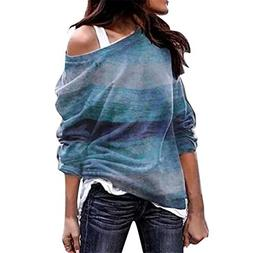 TIFENNY Women's Casual Pullover Long Sleeve Solid Lace Patch