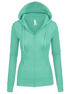 TL Women's Comfy Versatile Warm Knitted Casual Zip-Up Hoodie