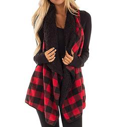 transer womens casual lapel open front plaid