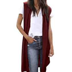 Transer- Womens Casual Solid Lapel Open Front Vest Long Card