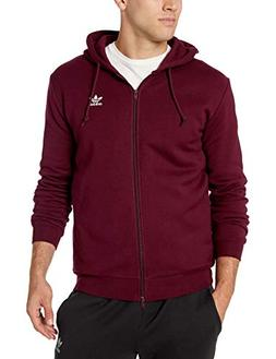 adidas Originals Men's Trefoil Full-Zip Fleece Hoodie, Maroo