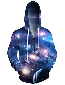 UNIFACO Unisex 3D Full Zip Hoodie Realistic Out Space Hooded