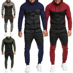 US Mens Tracksuit Tops Bottom Sport Jogging Sweat Suit Zip H