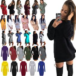 Women's Hoodie Dress Long Sleeve Hooded Tops Casual Pullover