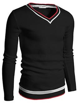 Doublju Mens V-Neck Sweater Pull-over with Tipping, Black,