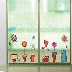 Wall Sticker Flowers Pots Small Garden Plants Butterflies Pa