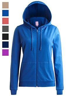 Regna X Women's Long Casual Loose Plus Size Full Zip Hooded
