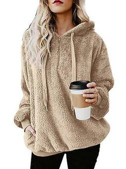 ReachMe Women's Oversized Sherpa Pullover Hoodie with Pocket