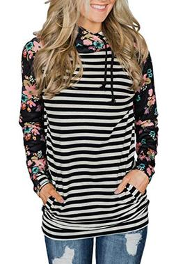 HOTAPEI Womens Plus Size Double Hooded Tunic Top Shirts Flor