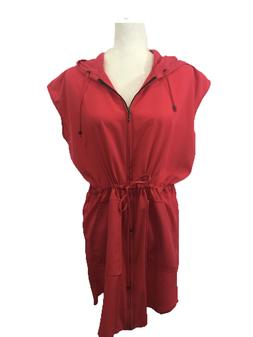 Womens Red Hoodie Dress Front Zip Cap Sleeve Cover Up Drawst
