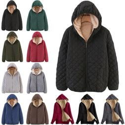 Womens Winter Warm Quilted Jacket Outwear Hooded Coat Baggy