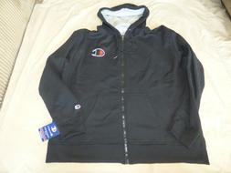 CHAMPION XXLARGE BLACK W/ LOGO FLEECE FULL ZIP HOODIE SWEATS