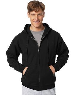 Hanes Men's Full Zip EcoSmart Fleece Hoodie, Black, Medium
