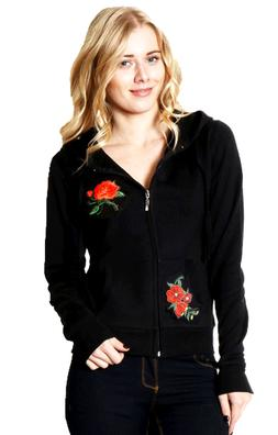 Zip Up Hoodie Roses Patched Sweater S M L 1XL 2XL 3XL
