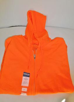 zip up hoodie safety orange hooded pocket